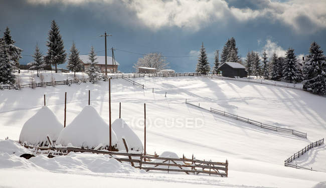 Snowy winter rural landscape in the Carpathians, Tihuta Pass, Romania, Europe — Stock Photo