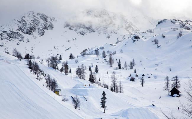 Vogel de esqui nos Alpes Julianos cobertas de neve no inverno, Eslovênia, Europa — Fotografia de Stock