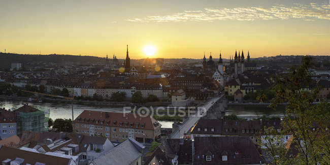 View over Wurzburg at sunrise, Bavaria, Germany, Europe — Stock Photo