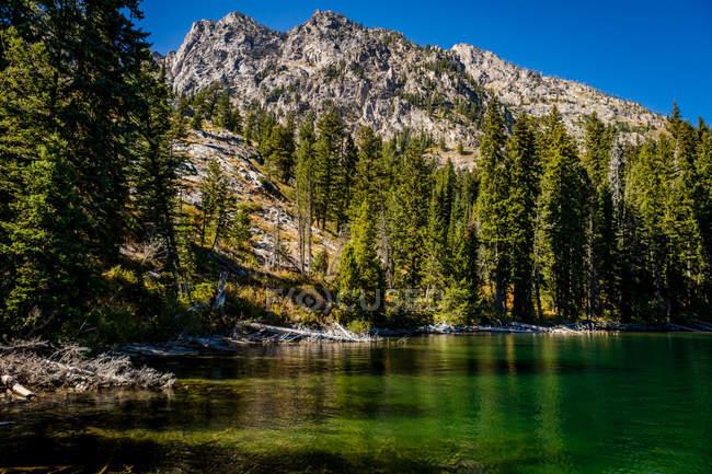 Живописный вид на озеро и Скалистых гор в национальном парке Йеллоустоун, Вайоминг, Соединенные Штаты Америки, Северная Америка — стоковое фото