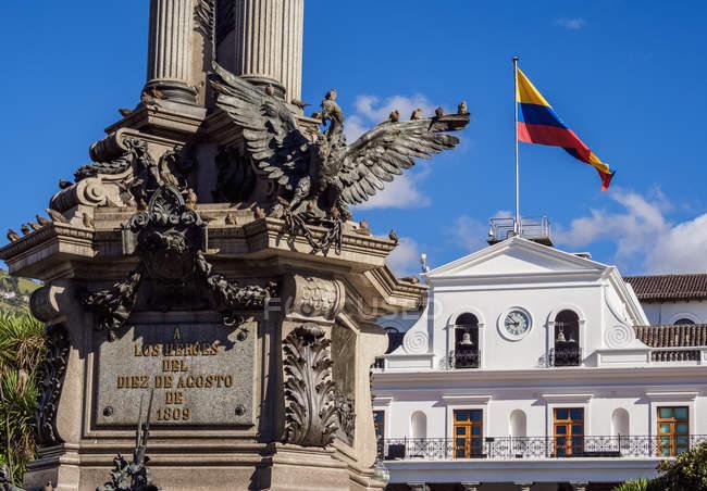Esterno del Palazzo Carondelet presso Independence Square (Plaza Grande), Old Town, Quito, Provincia di Pichincha, Ecuador, Sud America — Foto stock
