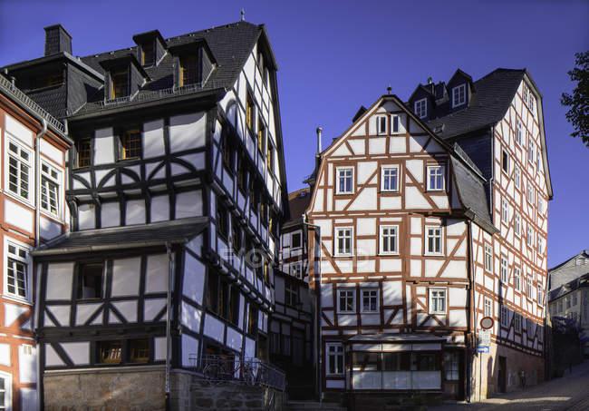 Half-timbered buildings under clear sky, Marburg, Hesse, Germany, Europe — Stock Photo