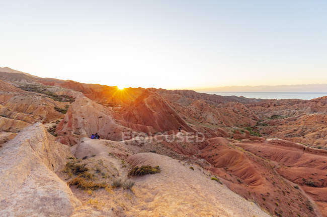 Sandstone hills in Fairy Tale canyon at sunset, Skazka Valley, Tosor, Kyrgyzstan, Central Asia, Asia — Stock Photo