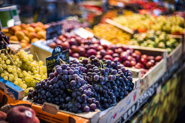Heap of fresh ripe grapes in crate at farmer market — Stock Photo