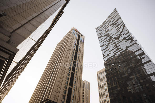 Low angle view of Modern skyscrapers against sky, Beijing, China, Asia — Stock Photo