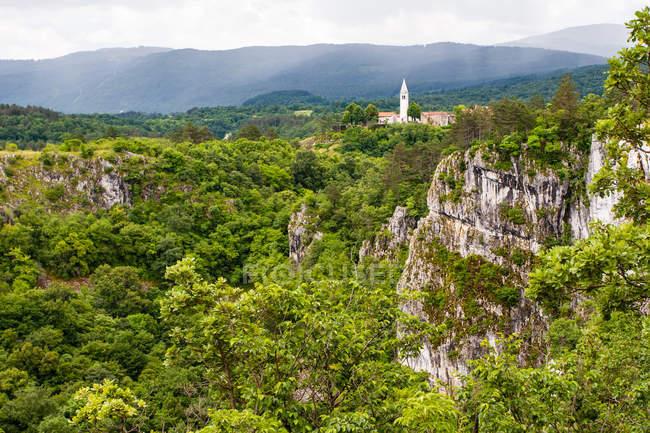 Живописные горы и зеленые леса с деревни Skocjan на плато Карст на фоне, Словения, Европа — стоковое фото