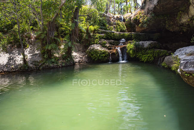 Мальовничий ставок і невеликий водоспад у в Національний парк Ісало, Ihorombe район, південно-західній частині Мадагаскару, Африка — стокове фото