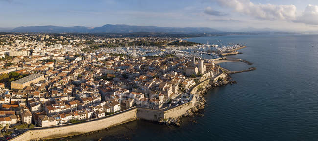 Aerial view of antibes coastal town, Provence-Alpes-Cote d'Azur, French Riviera, France — Stock Photo