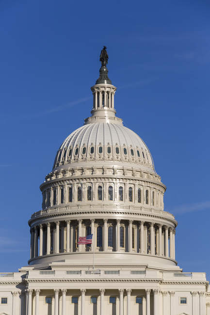 Close-up of United States Capitol Building dome against blue sky, Washington D.C., United States of America, North America — Stock Photo