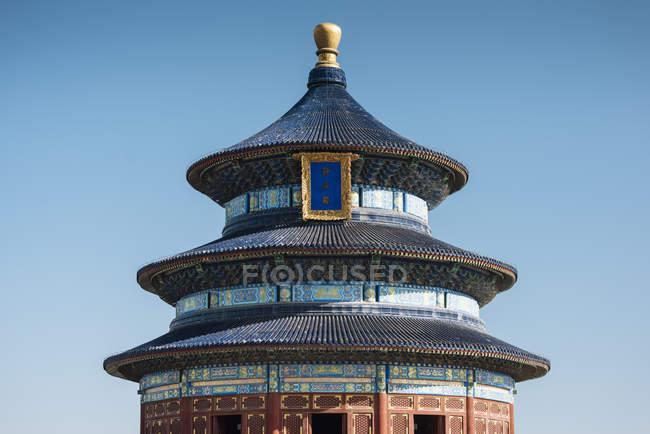 Halle des Gebets für gute Ernten unter blauem Himmel, Himmelstempel, Peking, China, Asien — Stockfoto