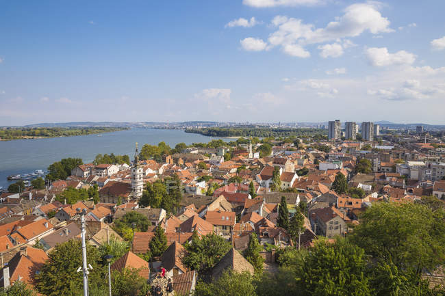 View of Zemun rooftops and the Danube River, Zemun, Belgrade, Serbia, Europe — Stock Photo