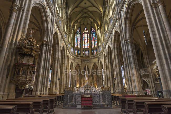 Interior of Saint Vitus Cathedral, Prague Castle, Mala Strana, Prague, Czech Republic, Europe — Stock Photo