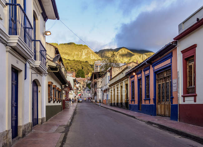 Colorful buildings on street of La Candelaria, Bogota, Capital District, Colombia, South America — стокове фото