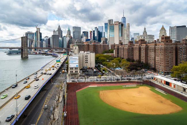 Baseball field along FDR — Stock Photo