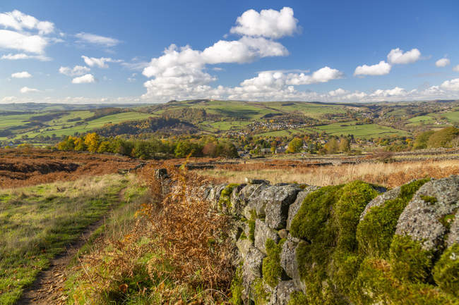 Stone wall in field near Calver in Peak District National Park, England, Europe — Stock Photo