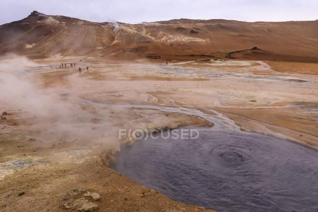 Barren landscape in Namafjall Geothermal Area in Iceland, Europe — Fotografia de Stock