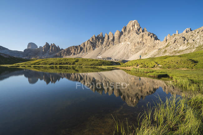 Rocky mountains reflecting in Piani Lakes in Italy, Europe — Stock Photo