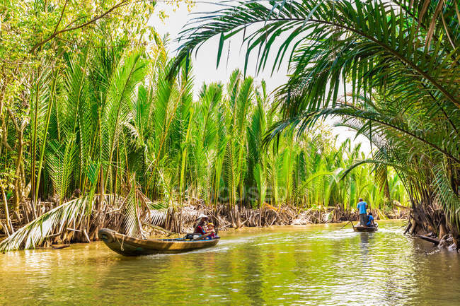 Sailing on tributaries of the Mekong River, Vietnam, Indochina, Southeast Asia, Asia — Stock Photo