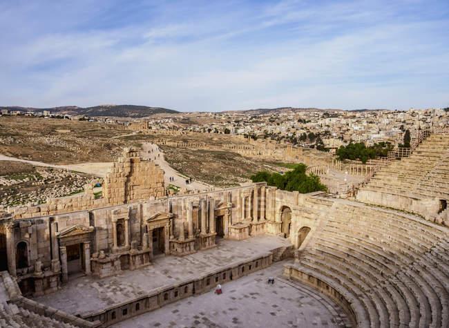 Исторические руины южного театра, Джераш, Джераш мухафазы, Иордания, Ближний Восток — стоковое фото