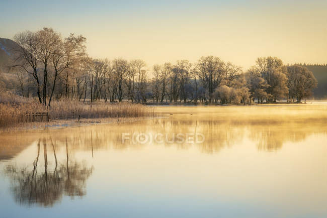 Morning mist clearing and sunlight over Loch Ard, Kinlochard, Aberfoyle, Scotland, United Kingdom, Europe — стокове фото