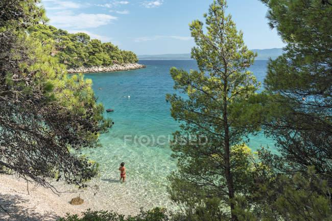 Woman bathing in the sea at Draceva beach, Murvica, Bol, Brac island, Split-Dalmatia county, Croatia, Europe — Stockfoto