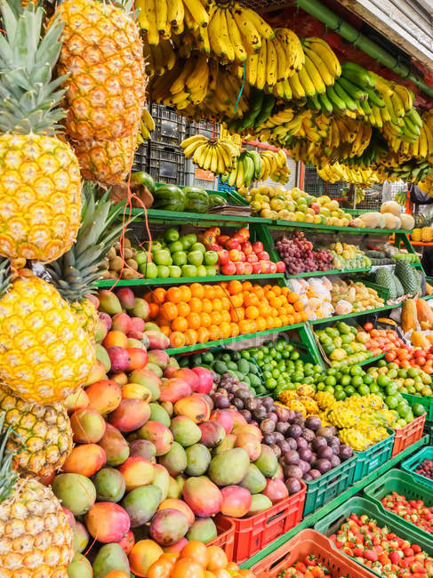 Fruit market stall of Paloquemao market, Bogota, Colombia, South America — Stock Photo