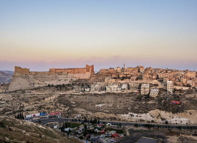 Kerak Castle at sunrise, Al-Karak, Karak Governorate, Jordan, Middle East — Stock Photo