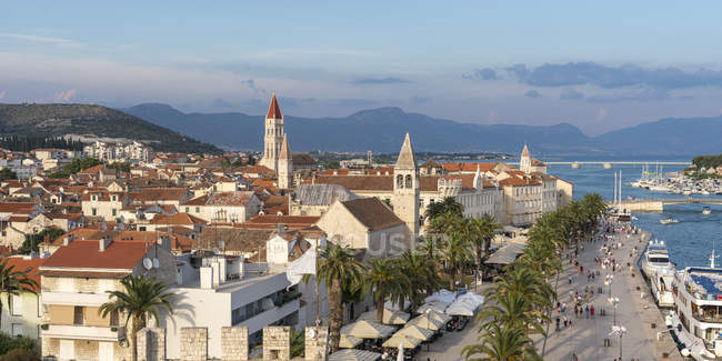 View of the old town and seafront from Karmelengo tower, Trogir, Split-Dalmatia county, Croatia, Europe — Stock Photo