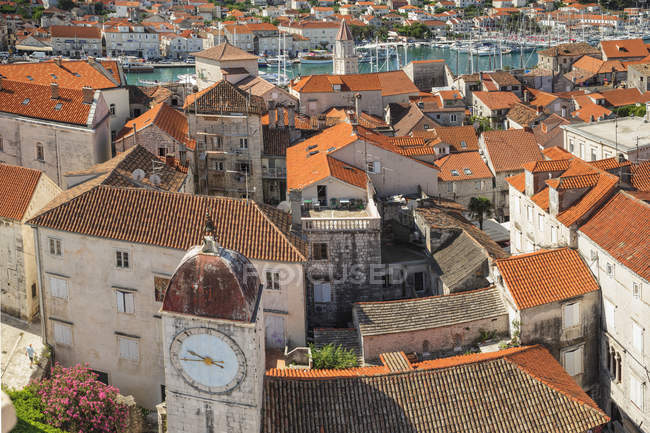 View from Saint Laurentius Cathedral across the Old Town, Trogir, Dalmatia, Croatia, Europe — Stock Photo