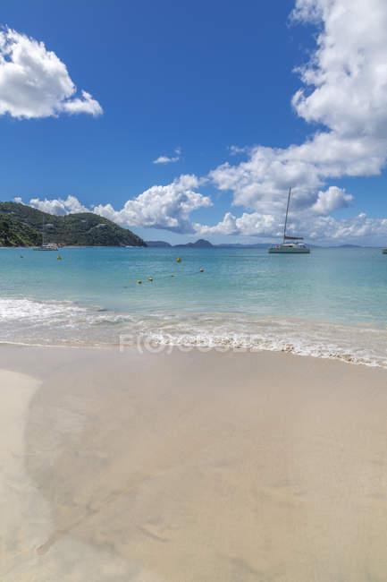 Вид на тростини Garden Bay Beach і яхт на фоні, Тортола, Британські Віргінські острови, Вест-Індія, Кариби, Центральна Америка — стокове фото
