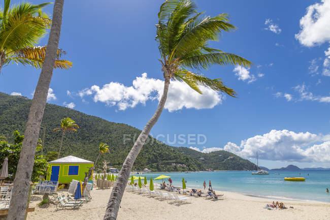Вид на піщаний тростини Garden Bay Beach, Тортола, Британські Віргінські острови, Вест-Індія, Кариби, Центральна Америка — стокове фото