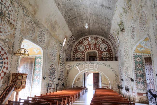 Interior of Ex-Convent of Santo Domingo, Uayma, Yucatan, Mexico, North America — стокове фото