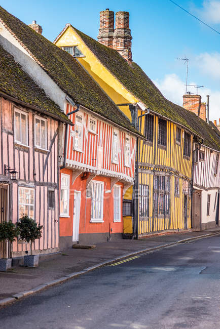 Colorful half timbered houses on Water Street part of the Historic Wool Village of Lavenham, Suffolk, England, United Kingdom, Europe — стокове фото
