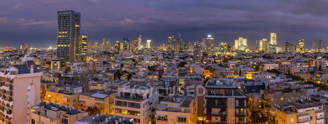 Aerial view of Tel Aviv skyline at dusk, Israel, Middle East — Stock Photo