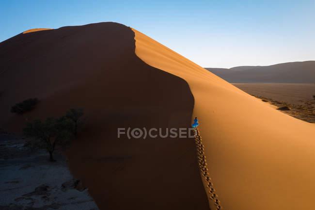 Вид с воздуха модели восхождение Дюна 13, Sossusvlei, Намибия, Африка — стоковое фото