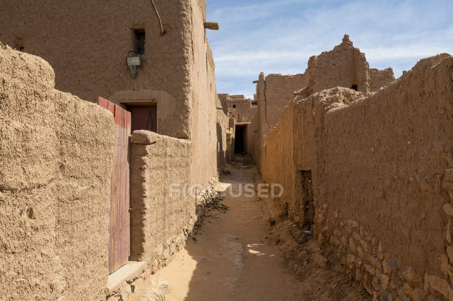 Ruins of old kasbah, old town, Oasis of Taghit, western Algeria, North Africa, Africa — Stock Photo