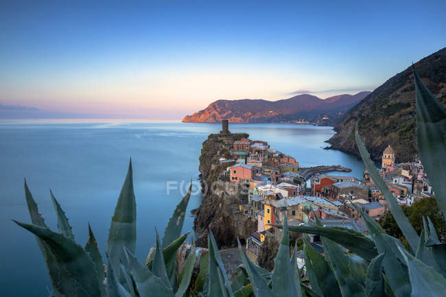 Elevated view of Vernazza town on cliff at sunset, Cinque Terre, Liguria, Italy, Europe - foto de stock