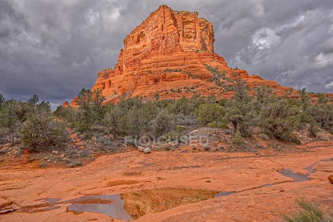 Reflections of Courthouse Butte in water puddles, Sedona, Arizona, United States of America, North America - foto de stock