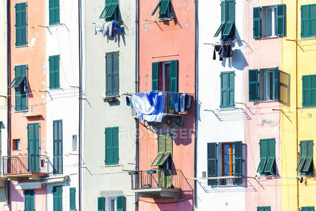 Detail of traditional houses of Porto Venere, Cinque Terre, Liguria, Italy, Europe — Stock Photo