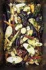 Erfahrene gemischte Gemüse bereit, sein Feuer geröstet — Stockfoto
