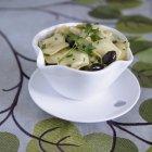 Bowl of Feta Raviolis pasta — Stock Photo