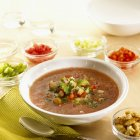 Bowl of Gazpacho with Ingredients — Stock Photo