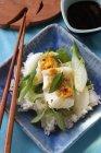 Bacalao con cebolla de primavera sobre arroz - foto de stock