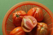 Свіжі помідори в мисці — стокове фото