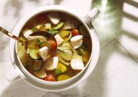 Fine Fish Soup on white plate over white surface — Stock Photo