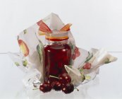 Cherry jam in jar — Stock Photo