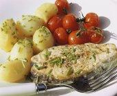 Lachssteak mit Kartoffeln — Stockfoto