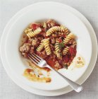 Fusilli pasta with mince — Stock Photo