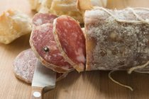 Italian salami with slices cut — Stock Photo