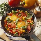 Fried eggs in pan — Stock Photo